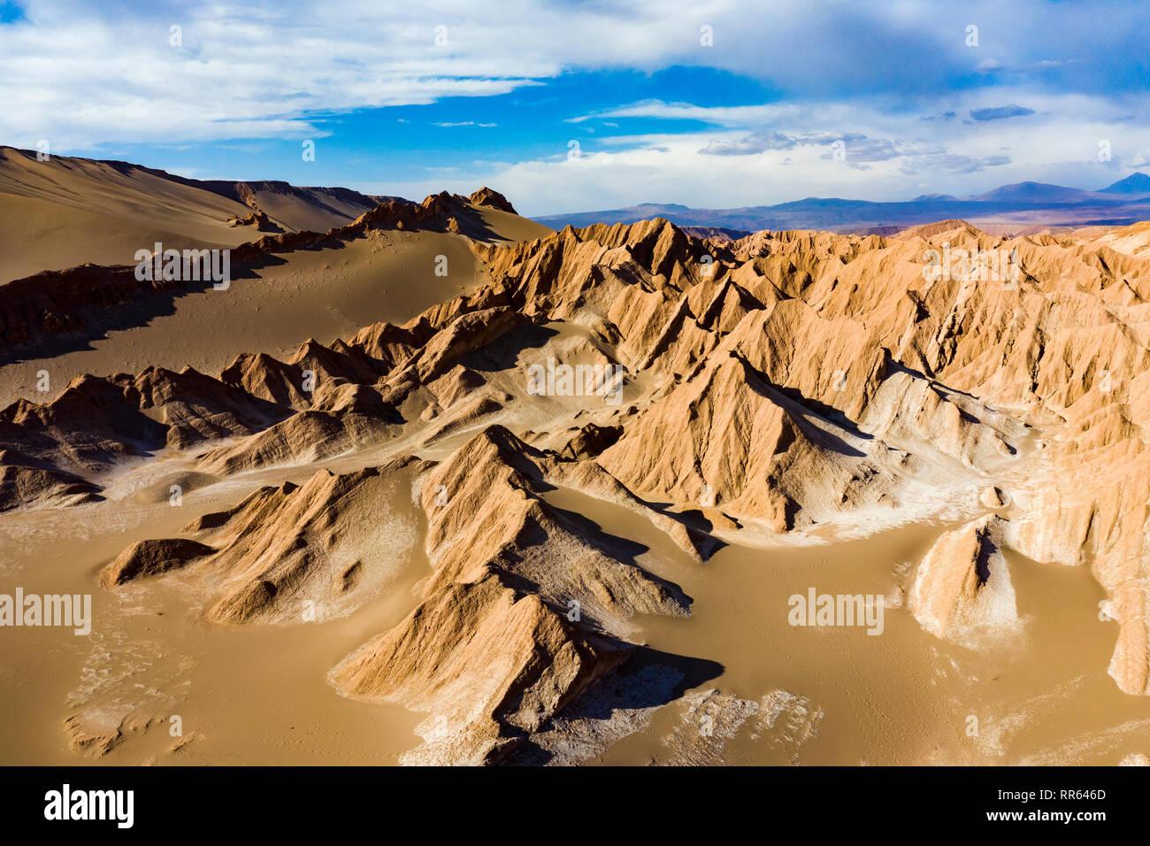 Aerial View Of Atacama Desert Valle De La Muerte Chile Stock Photo