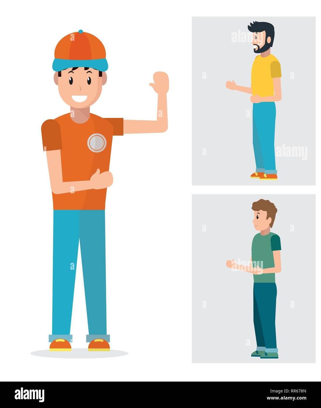 crew member standing cartoon - Stock Image