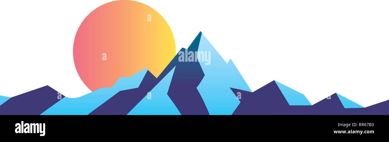 mountain landscape retro - Stock Vector