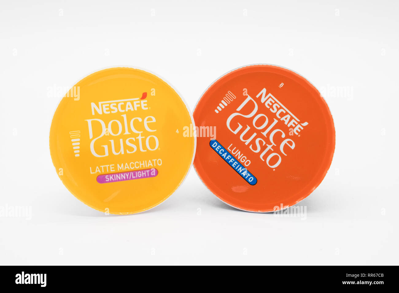 Largs, Scotland, UK - February 22, 2019: Two Dolce Gusto by Nescafe Brand that are fully recyclable and can also be sent to inceneration - Stock Image