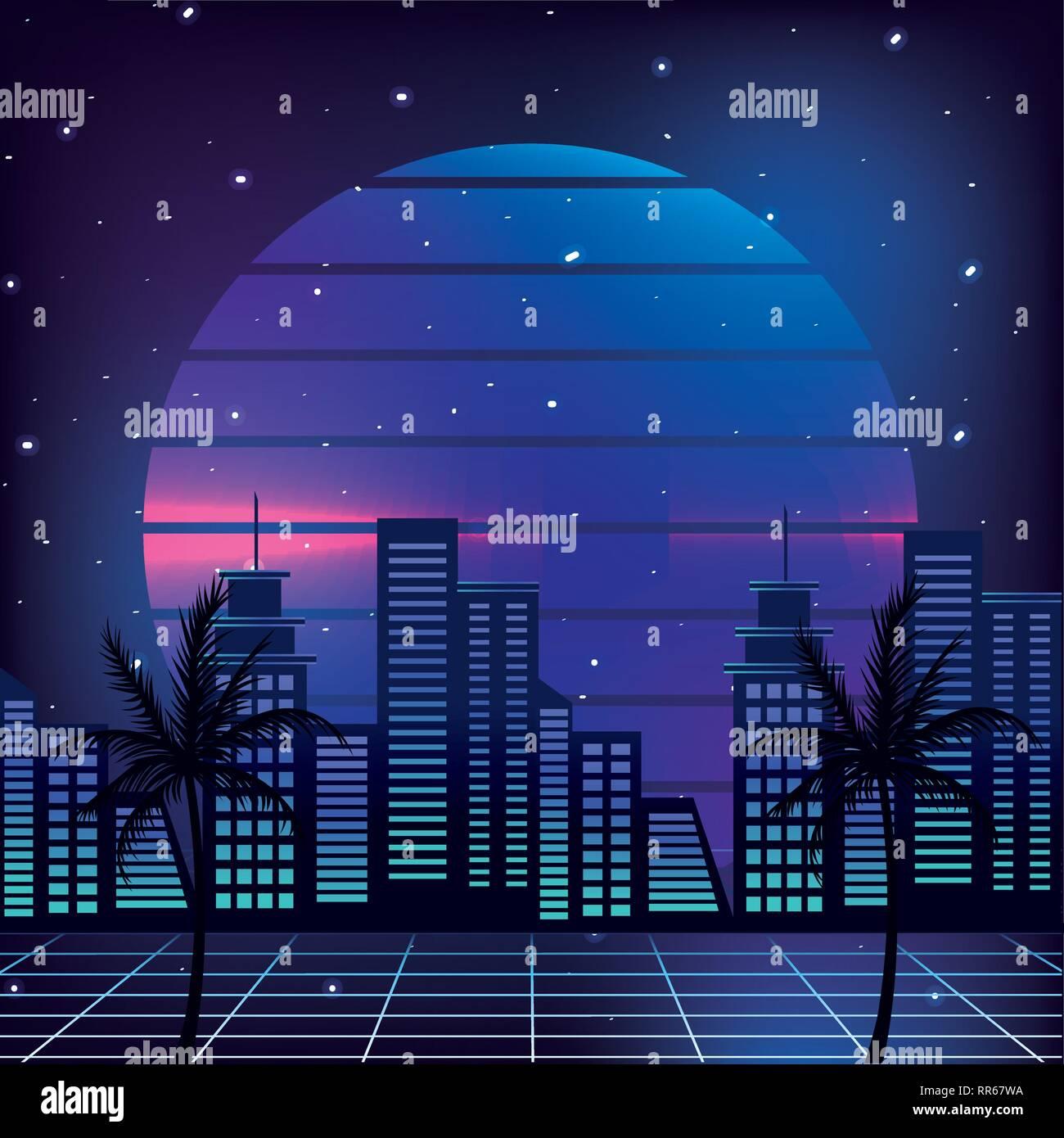 cityscape retro style - Stock Image