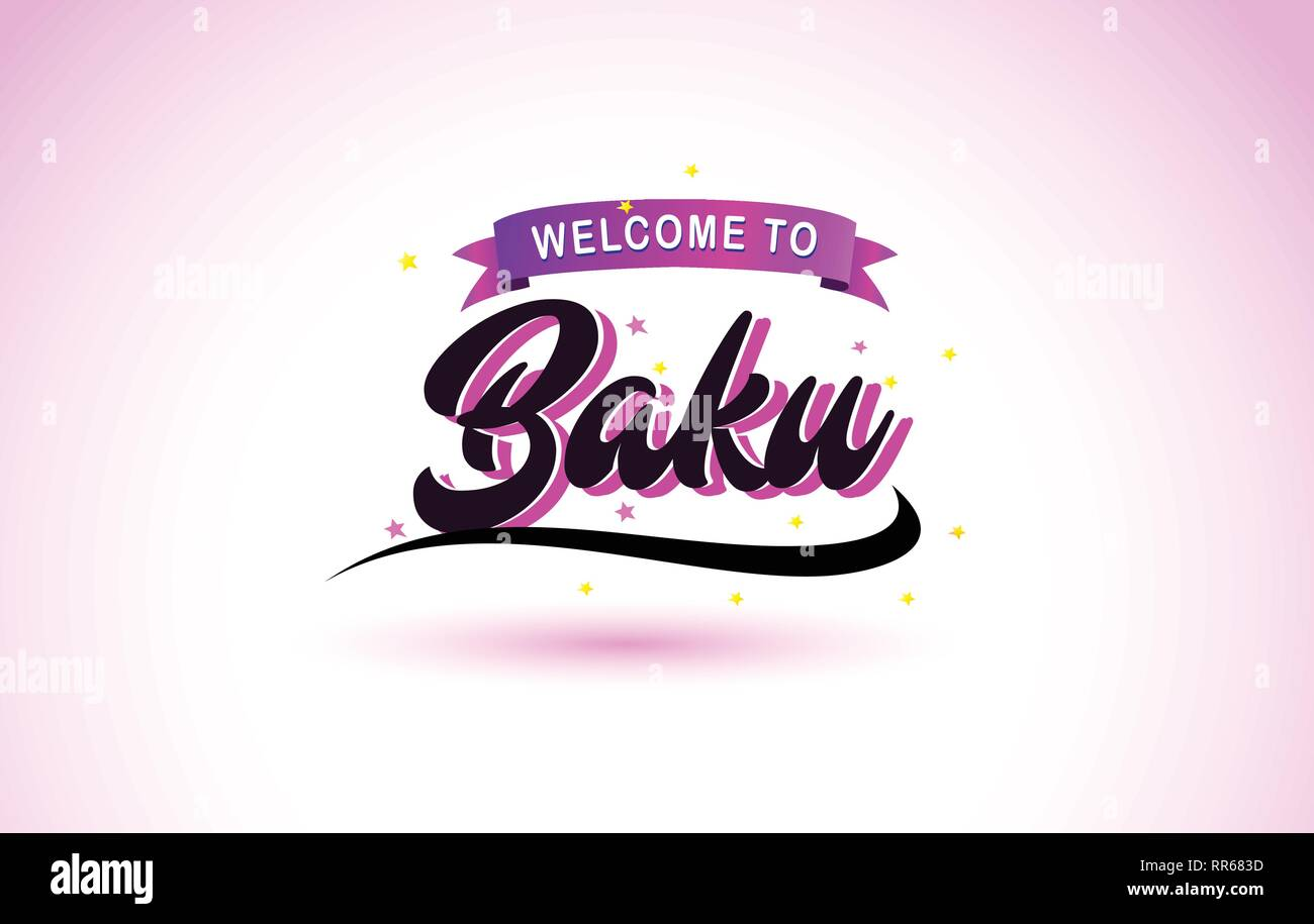 Baku Welcome to Creative Text Handwritten Font with Purple Pink Colors Design Vector Illustration. - Stock Vector