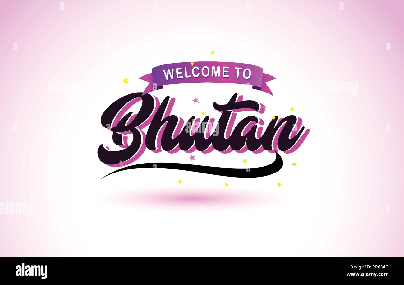 Bhutan Welcome to Creative Text Handwritten Font with Purple Pink Colors Design Vector Illustration. - Stock Vector