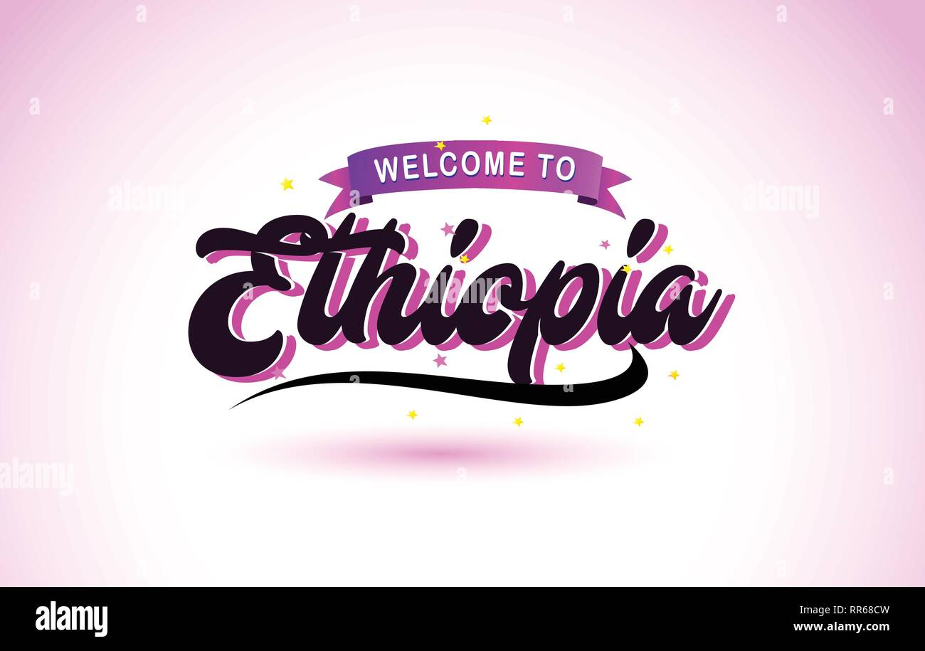 Ethiopia Welcome to Creative Text Handwritten Font with Purple Pink Colors Design Vector Illustration. - Stock Vector