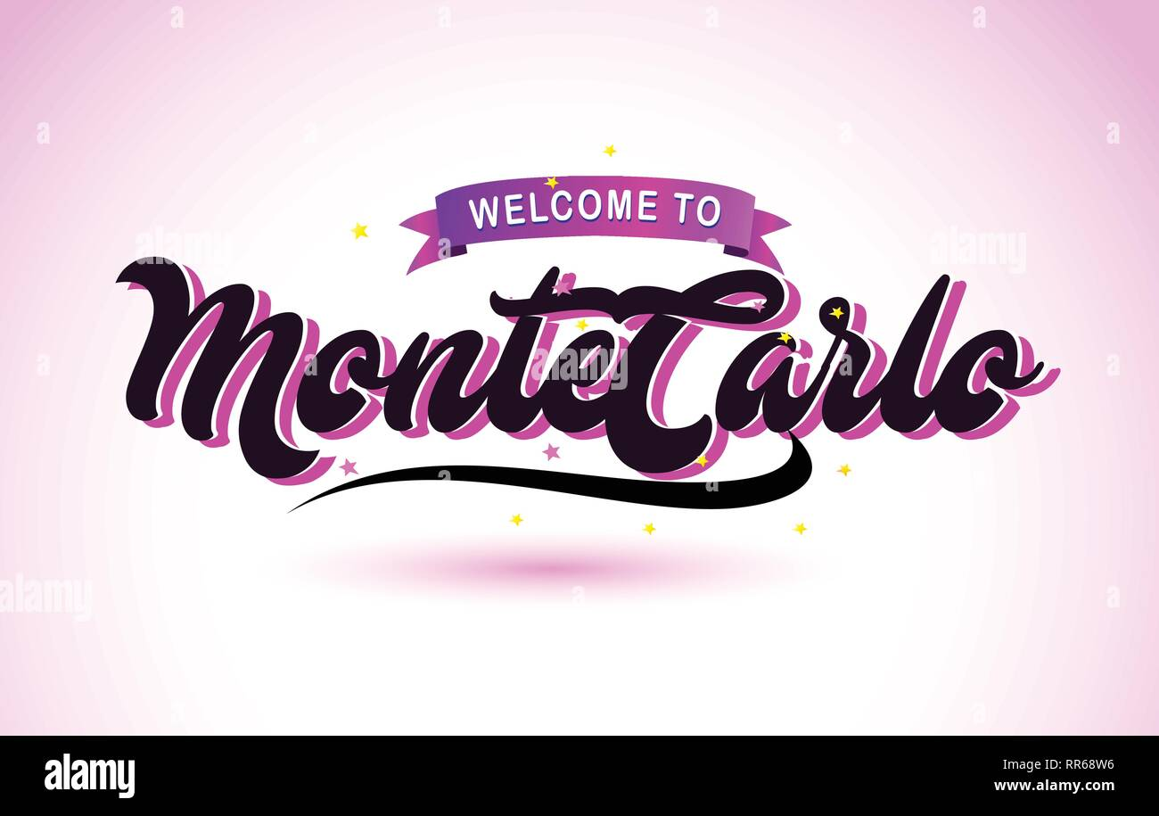 MonteCarlo Welcome to Creative Text Handwritten Font with Purple Pink Colors Design Vector Illustration. - Stock Vector