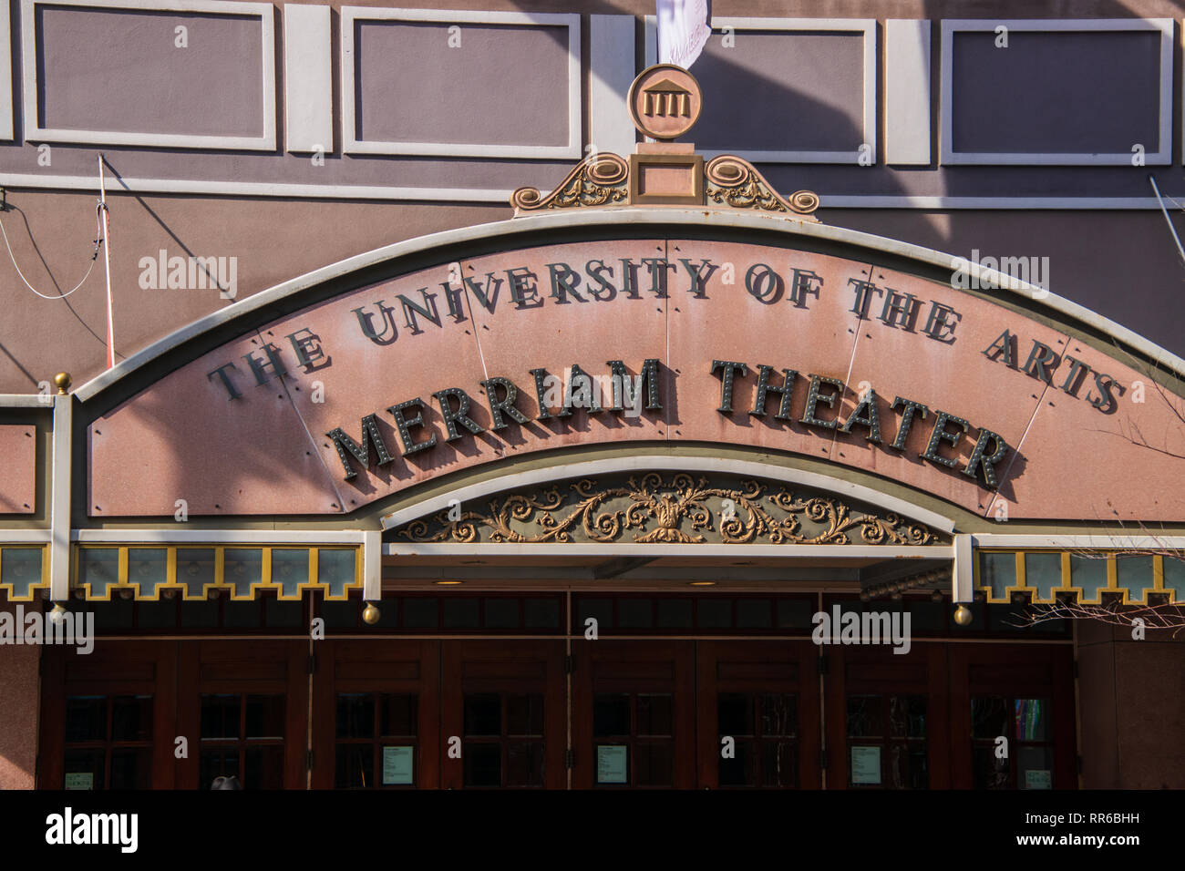 Philadelphia, Pennsylvania - February 5, 2019: The marquee of the famous Merriam Theater located on Broad Street in Philadelphia, Pennsylvania as seen - Stock Image