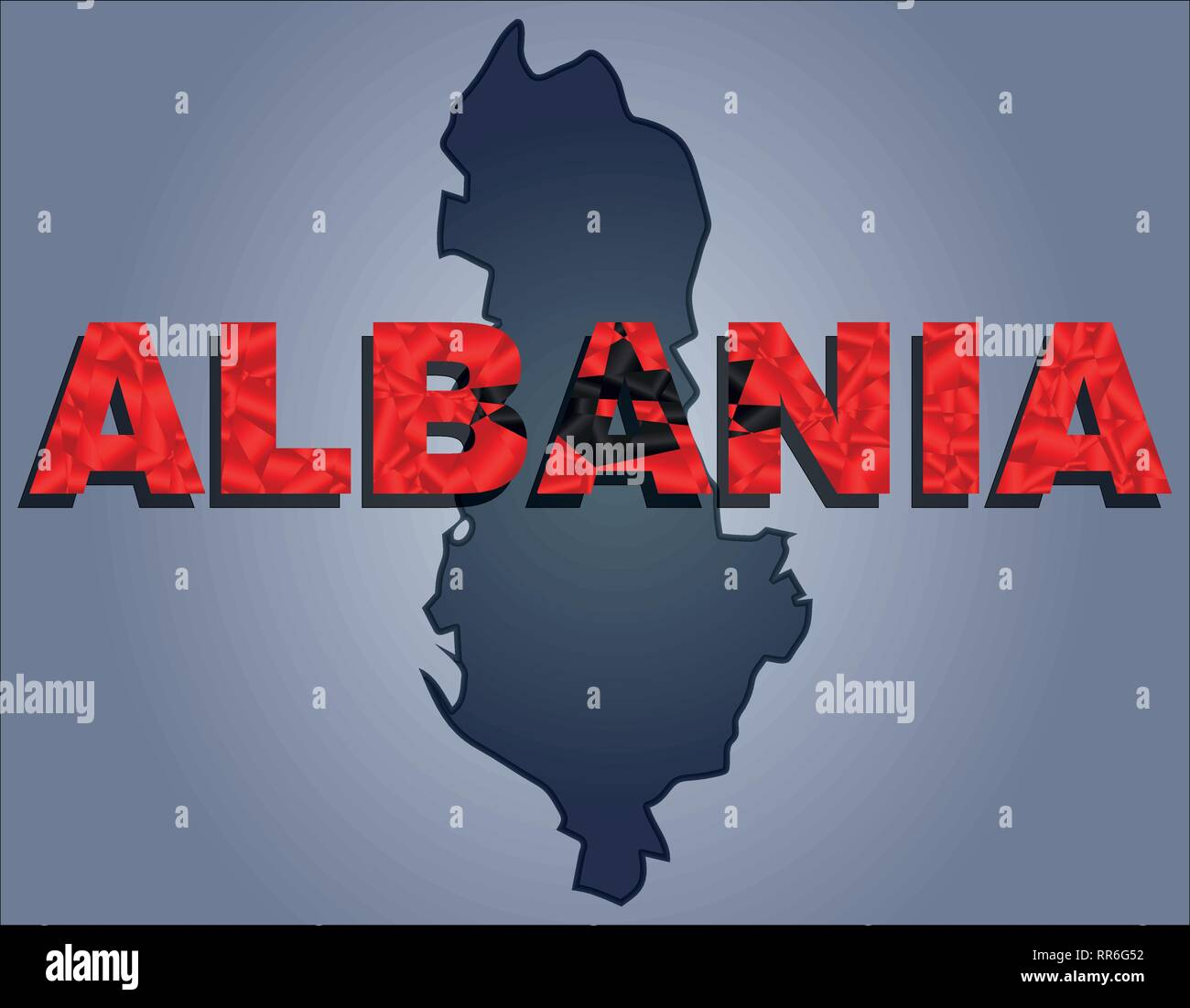 The contours of territory of Albania in grey colours and word Albania in colors of the oficial flag, red and black - Stock Vector