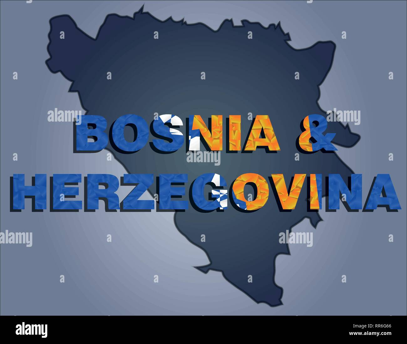 The contours of territory of Bosnia and Herzegovina in grey colours and word Bosnia and Herzegovina in colors of the oficial flag, blue, yellow and wh - Stock Vector