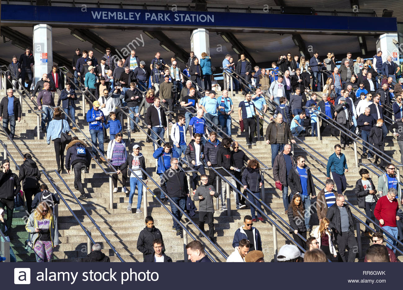 24 Feb 2019 - London, England. Busy Wembley Park station during Carabao Cup finals between Manchester City and Chelsea football clubs. - Stock Image