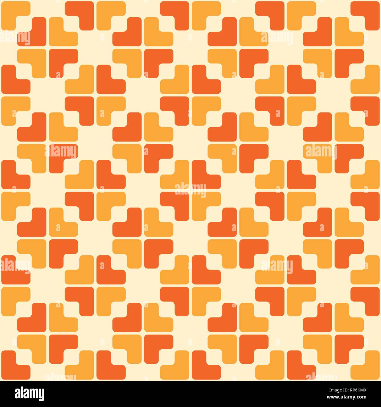 abstract trendy seamless pattern of geometric ornament in orange and yellow colors repeated color blocks background mosaic abstract wallpaper RR6KMX