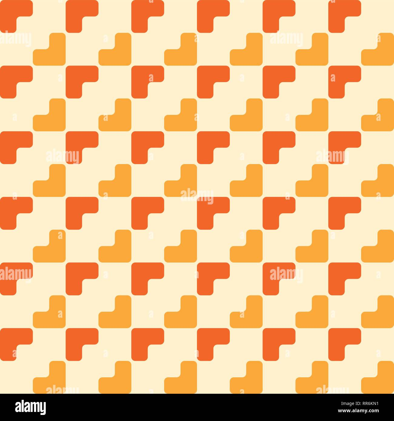 abstract trendy seamless pattern of geometric ornament in orange and yellow colors repeated color blocks background mosaic abstract wallpaper RR6KN1