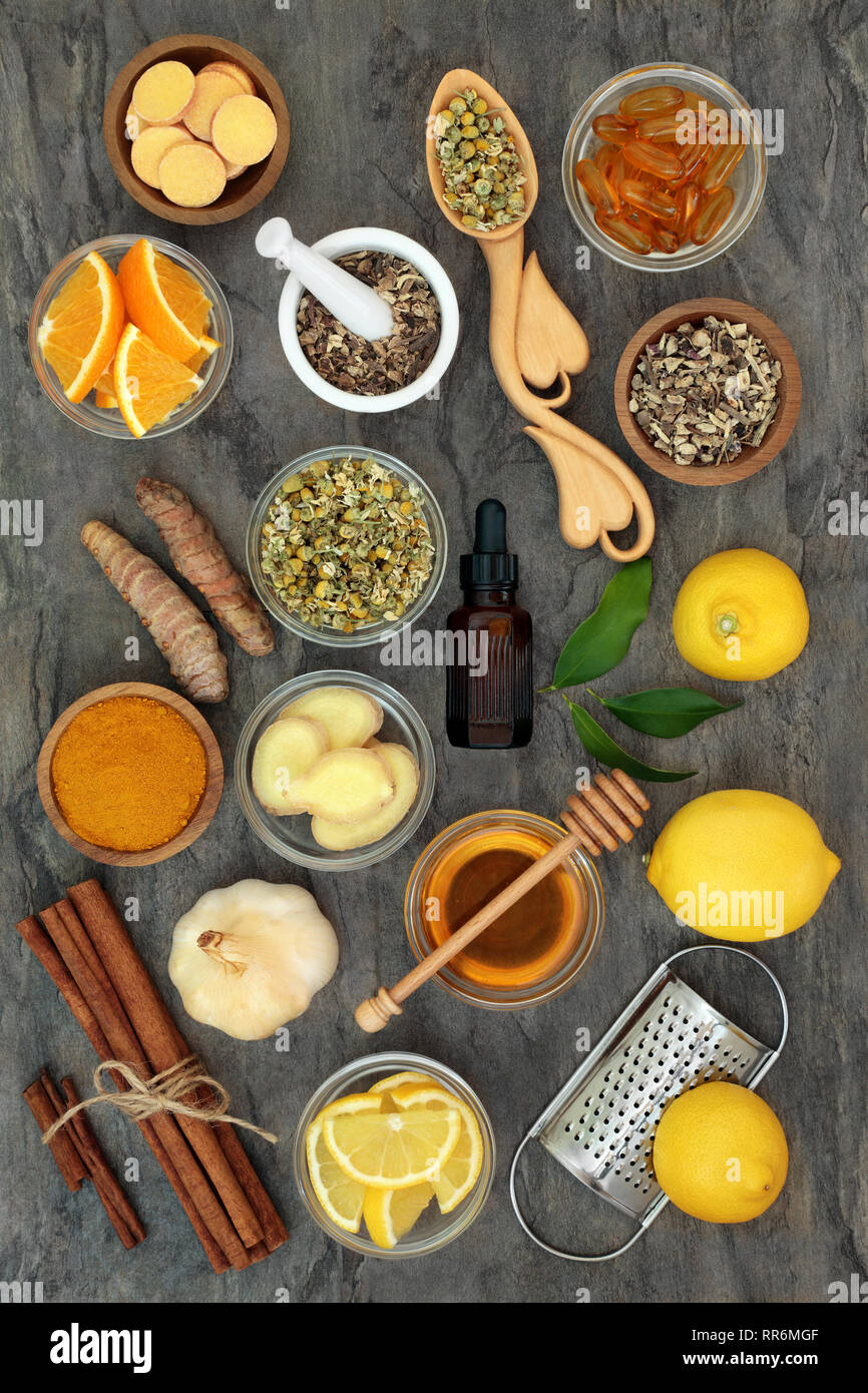 Herbal medicine for flu and cold remedy with echinacea, chamomile