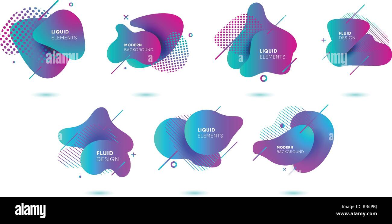 Dynamical colored graphic elements. Gradient abstract banners with flowing liquid shapes. Template for the design of a logo, poster or presentation. - Stock Image