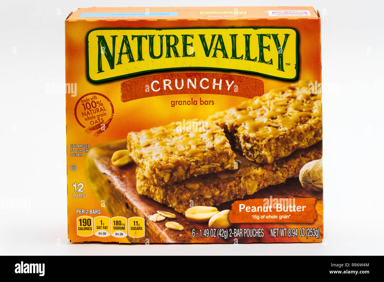 ST. PAUL, MN/USA - FEBRUARY 24, 2019: Nature Valley peanut butter granola bar container and trademark logo. Nature Valley is a brand of granola bars b - Stock Image