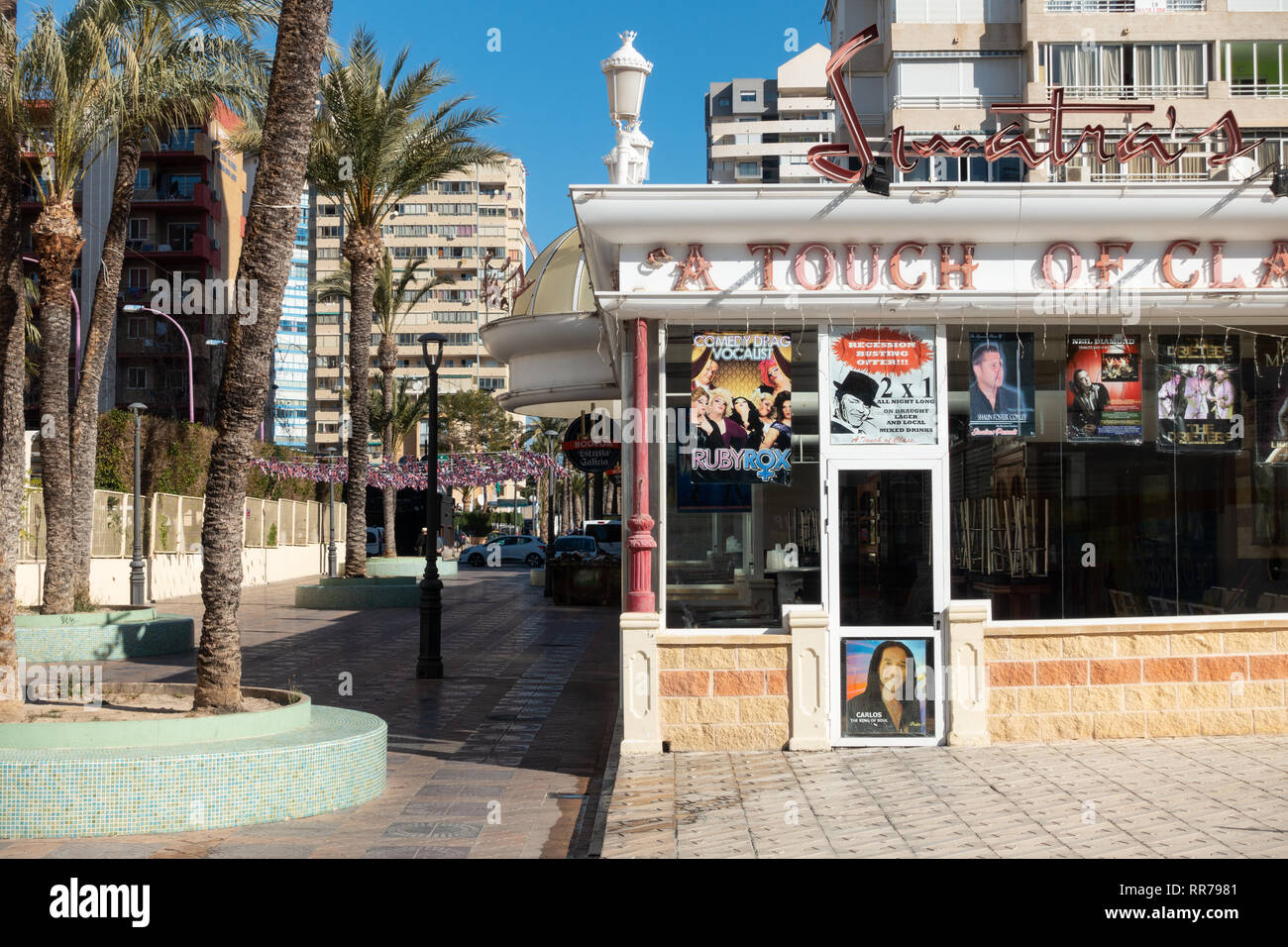 Benidorm, Costa Blanca, Spain, 25th February 2019. Two staff members at the Beachcomber pub in Benidorm New Town on the British square. Two British tourists have been arrested in relation to the alleged attack. Seen here is Sinatras, aA Touch Of Class Bar which is not connected to the reported incident. Credit: Mick Flynn/Alamy Live News Stock Photo