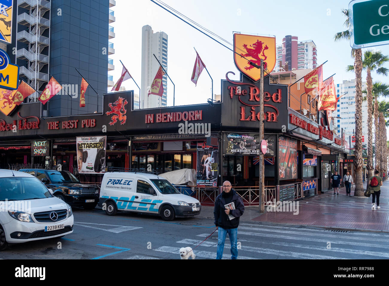 Benidorm, Costa Blanca, Spain, 25th February 2019. Two staff members at the Beachcomber pub in Benidorm New Town on the British square. Two British tourists have been arrested in relation to the alleged attack. Seen here is the Red Lion Pub which is not connected to the reported incident.  Credit: Mick Flynn/Alamy Live News Stock Photo