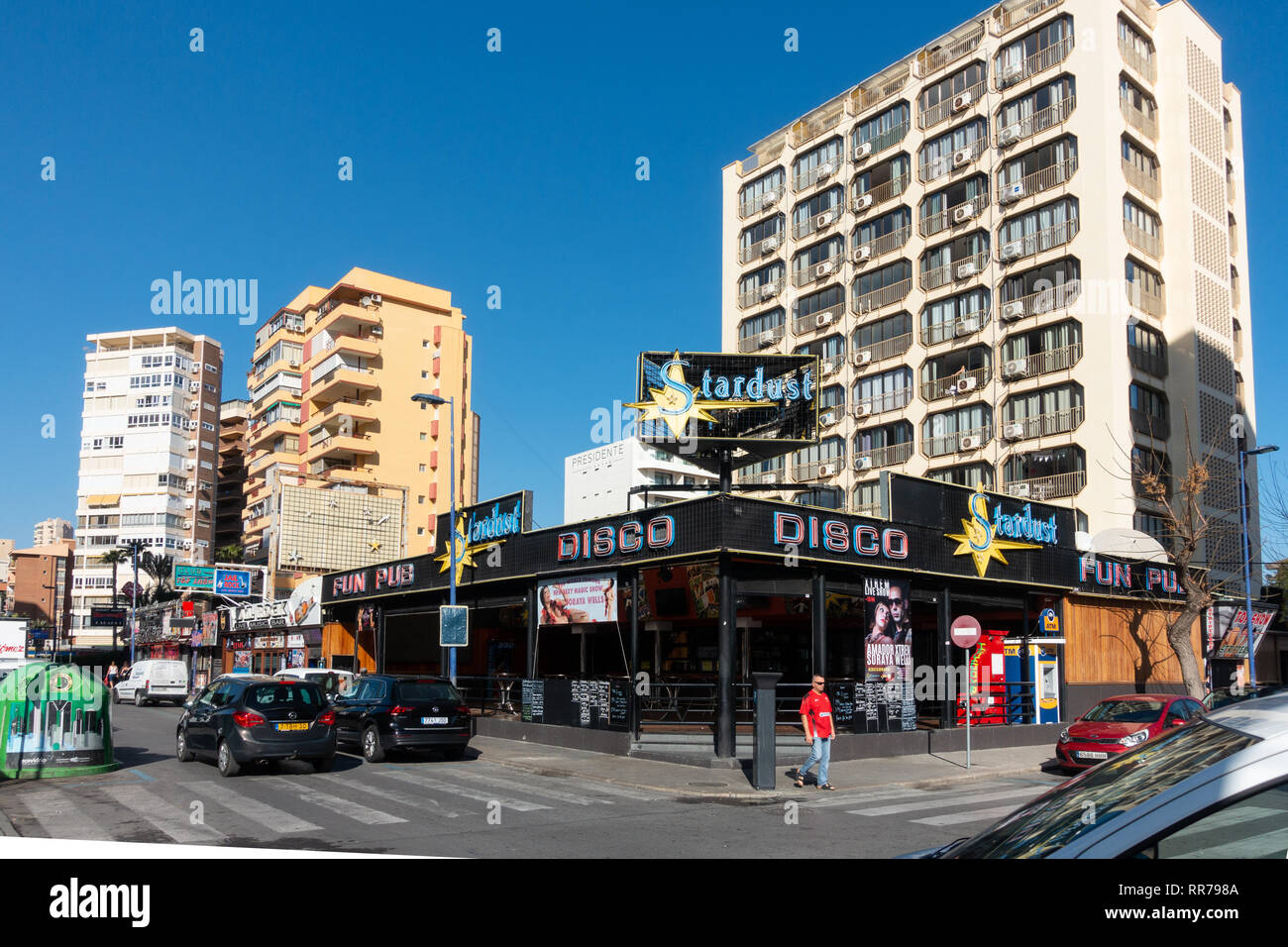 Benidorm, Costa Blanca, Spain, 25th February 2019. Two staff members at the Beachcomber pub in Benidorm New Town on the British square. Two British tourists have been arrested in relation to the alleged attack. Seen here is the Stardust Disco Pub which is not connected to the reported incident.  Credit: Mick Flynn/Alamy Live News Stock Photo