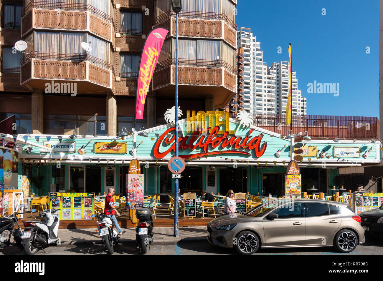 Benidorm, Costa Blanca, Spain, 25th February 2019. Two staff members at the Beachcomber pub in Benidorm New Town on the British square. Two British tourists have been arrested in relation to the alleged attack. Seen here is the Hotel California which is not connected to the reported incident. Credit: Mick Flynn/Alamy Live News Stock Photo