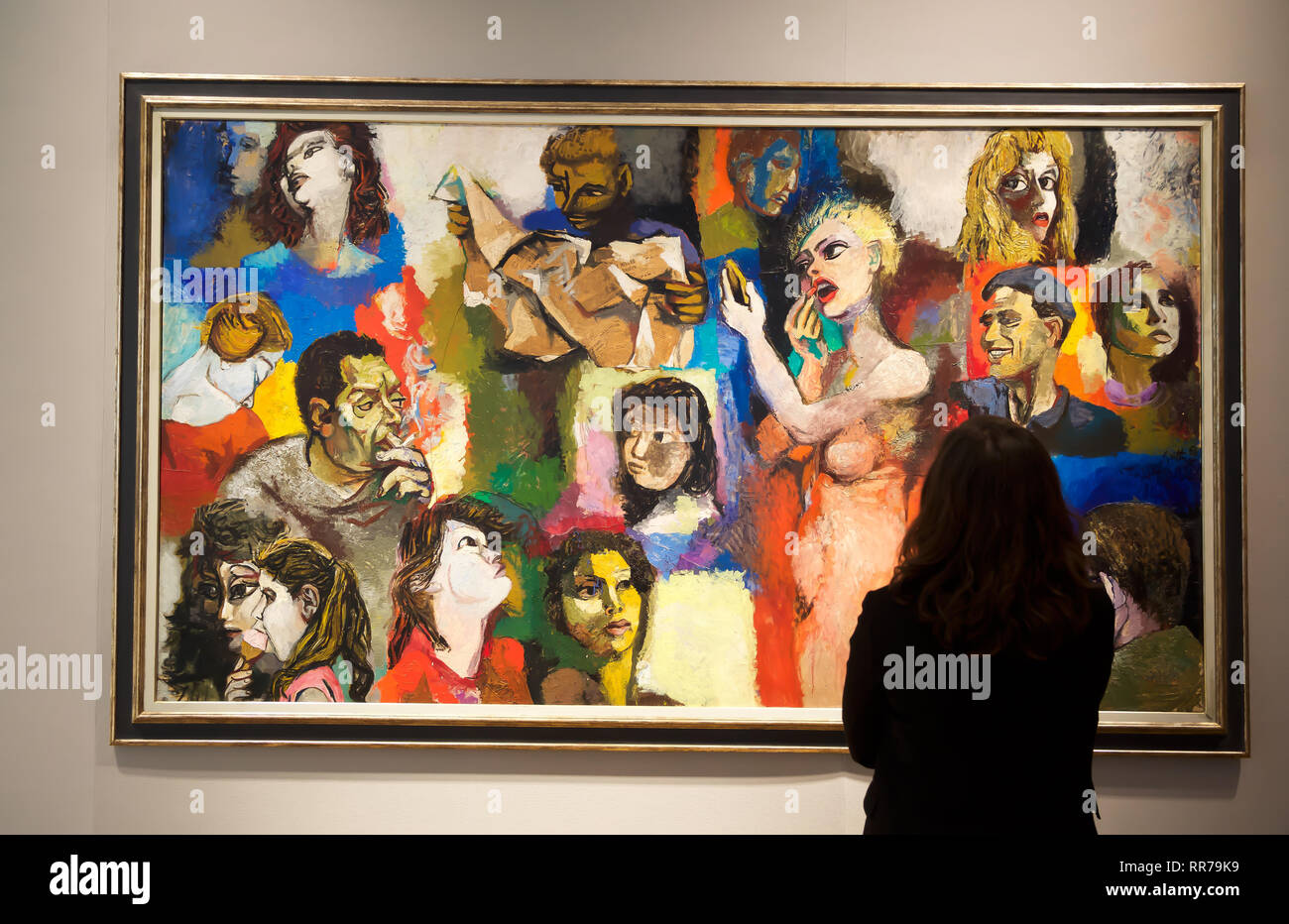 London,UK,25th February 2019,Bonhams photocall: on display: RENATO GUTTUSO(1912-1987)Mosaico di figure. Estimated at £ 60,000 - 80,000 The sale takes place on the 28th February at 5pm.Credit Keith Larby/Alamy Live News Stock Photo