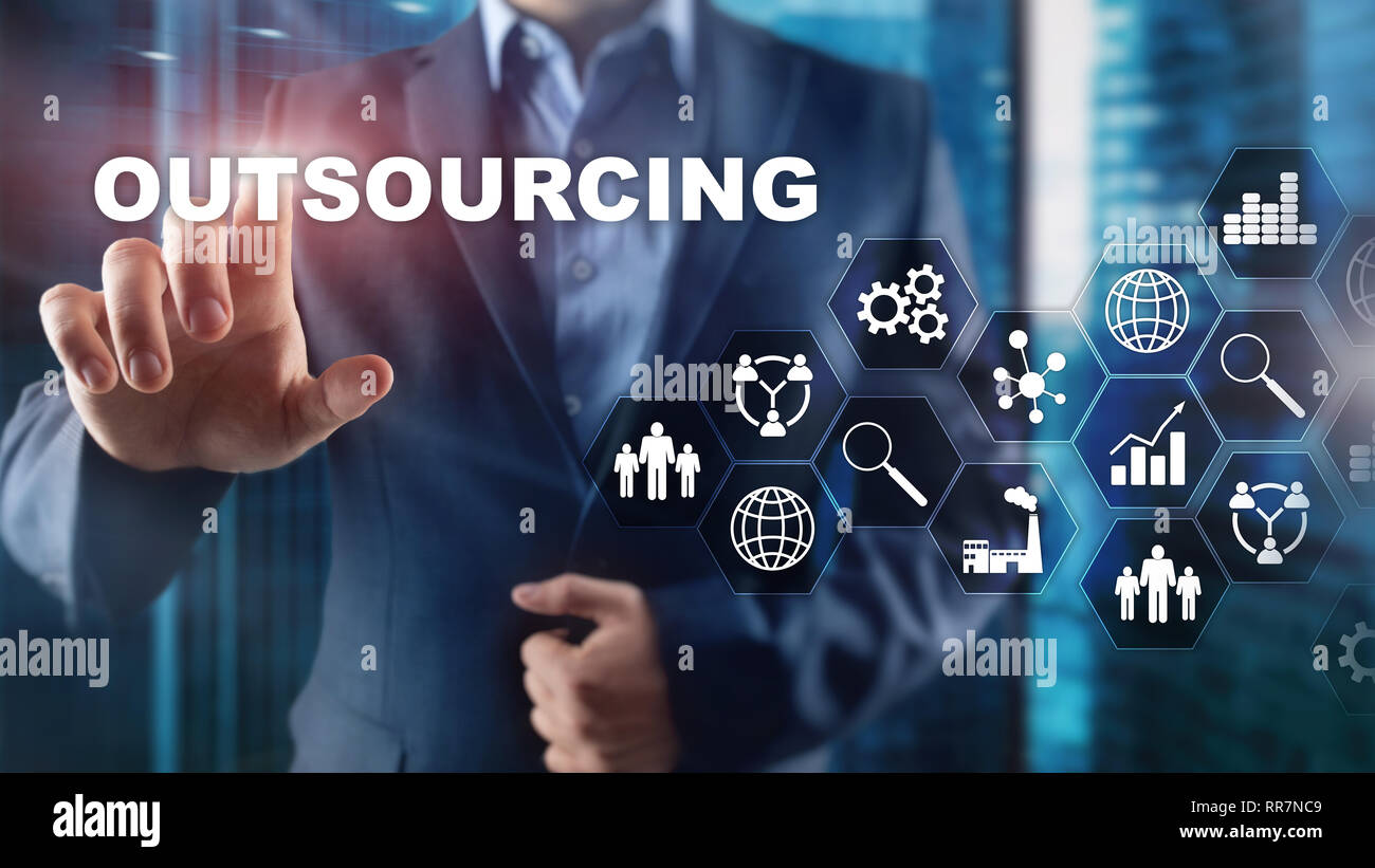 Outsourcing Human Resources. Global Business Industry Concept. Freelance Outsource International Partnership - Stock Image