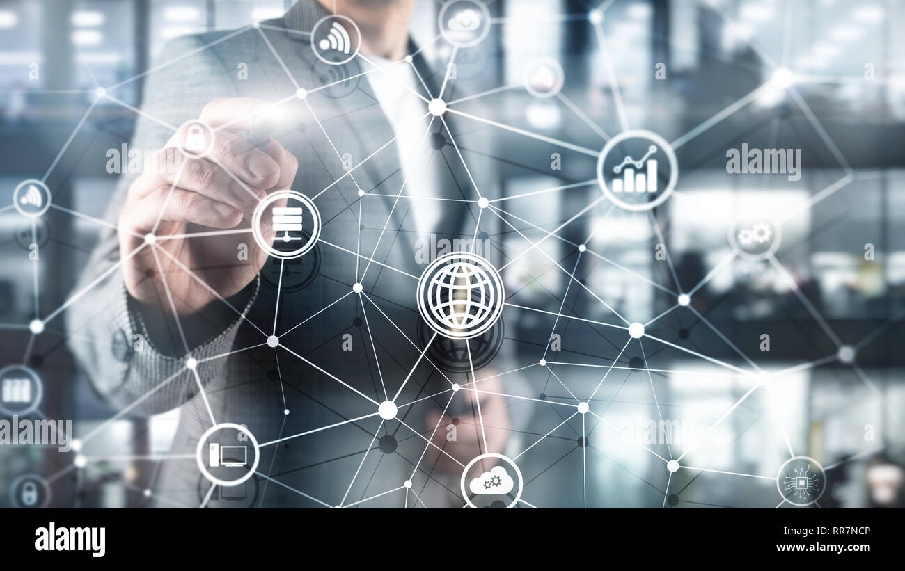 ICT - information and telecommunication technology and IOT - internet of things concepts. Diagrams with icons on server room backgrounds - Stock Image