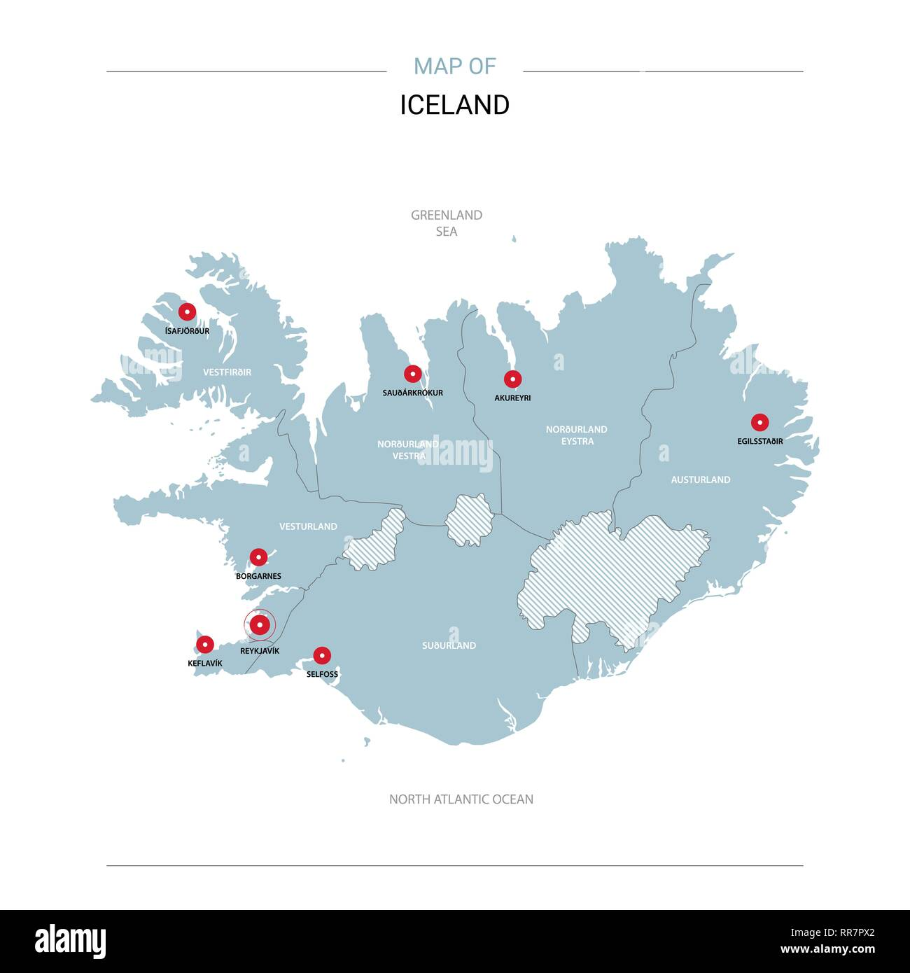 Iceland vector map. Editable template with regions, cities, red pins ...