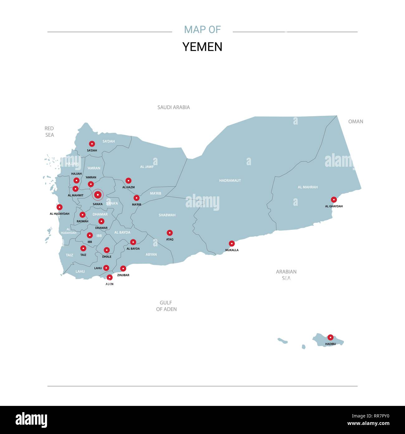 Yemen vector map. Editable template with regions, cities, red pins and blue surface on white background. - Stock Image