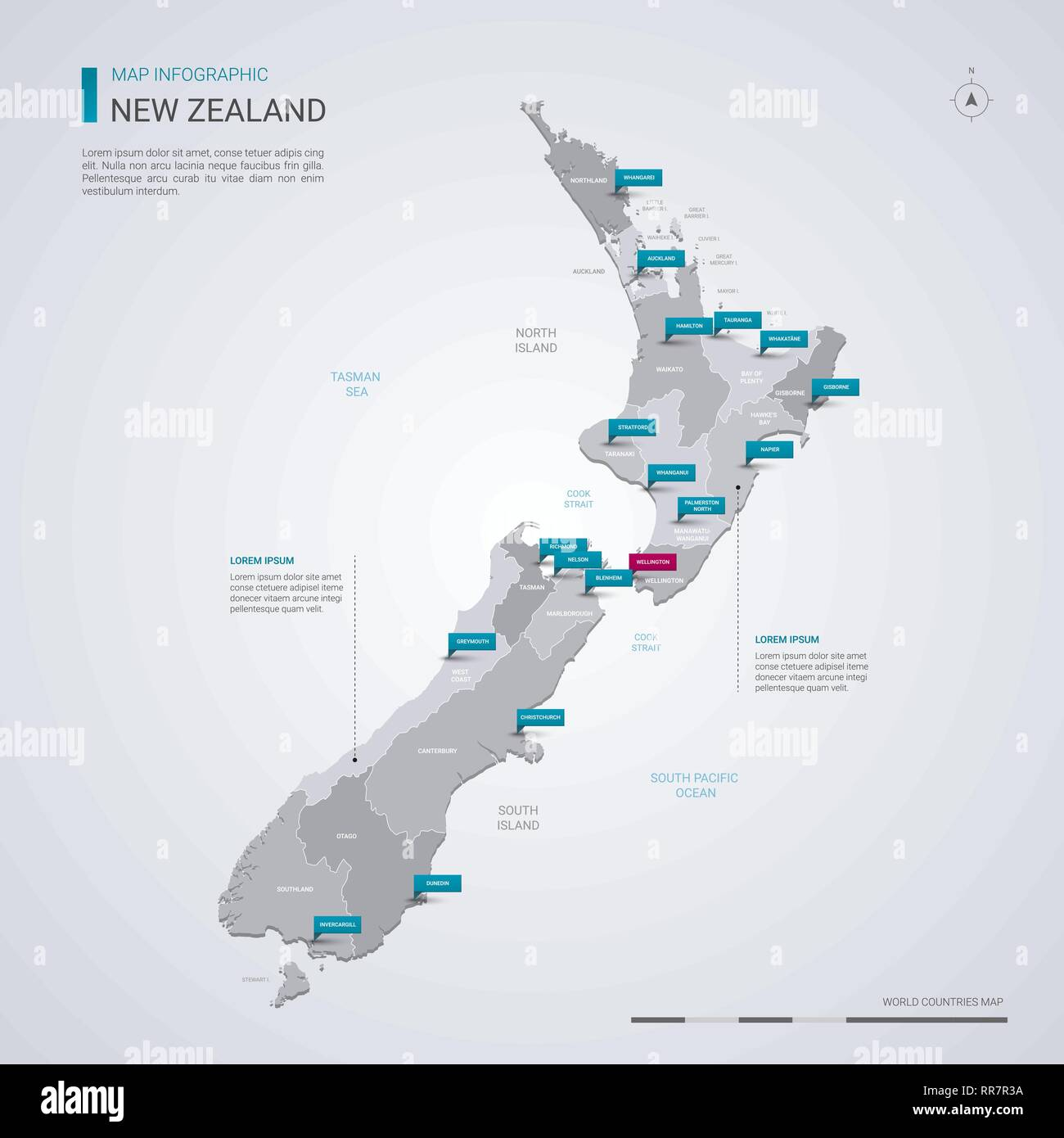 Cities In New Zealand Map.New Zealand Vector Map With Infographic Elements Pointer Marks