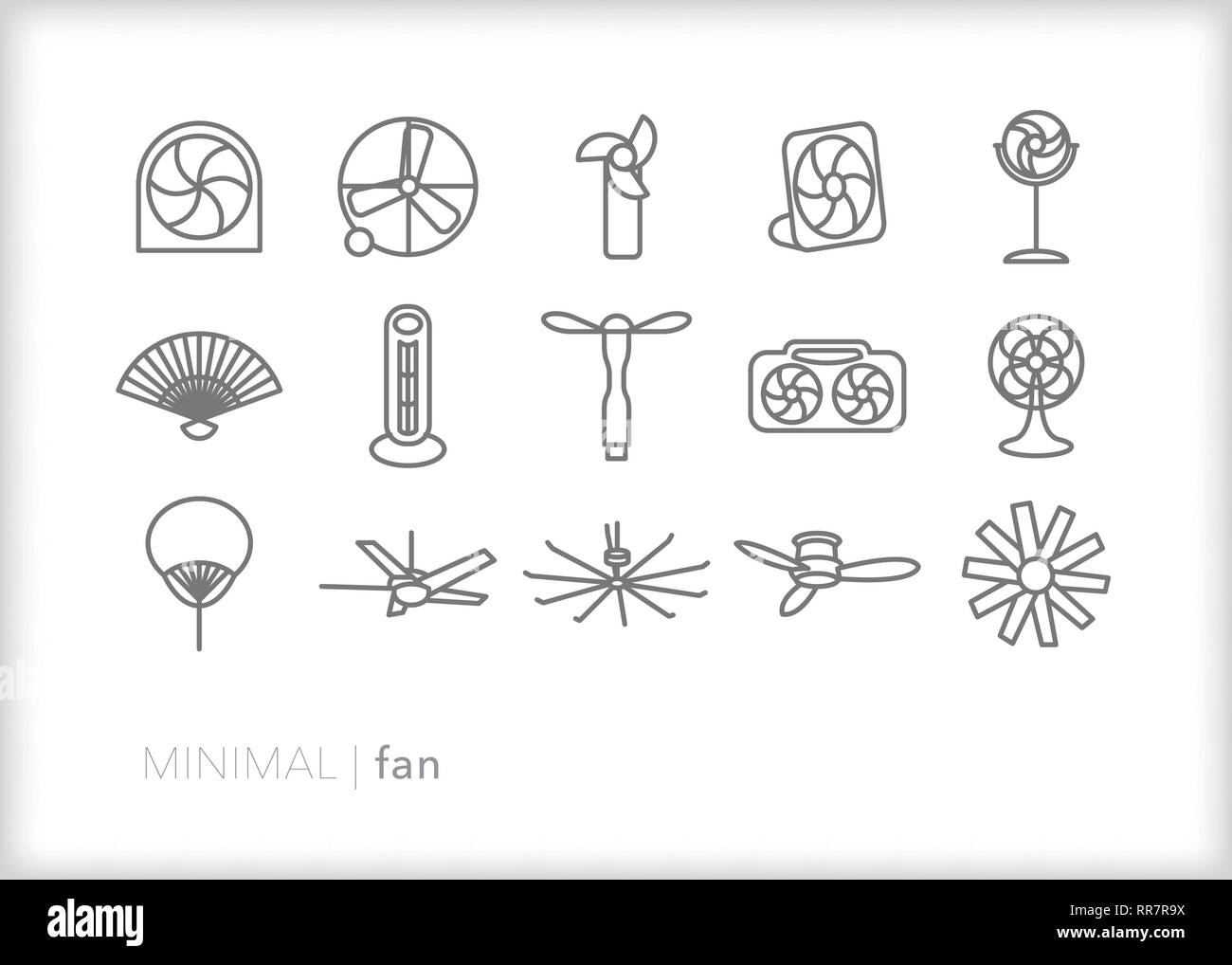 Set of 15 fan line icons for cooling down on a hot summer day, from ceiling fans to personal fans to oscillating fan - Stock Vector