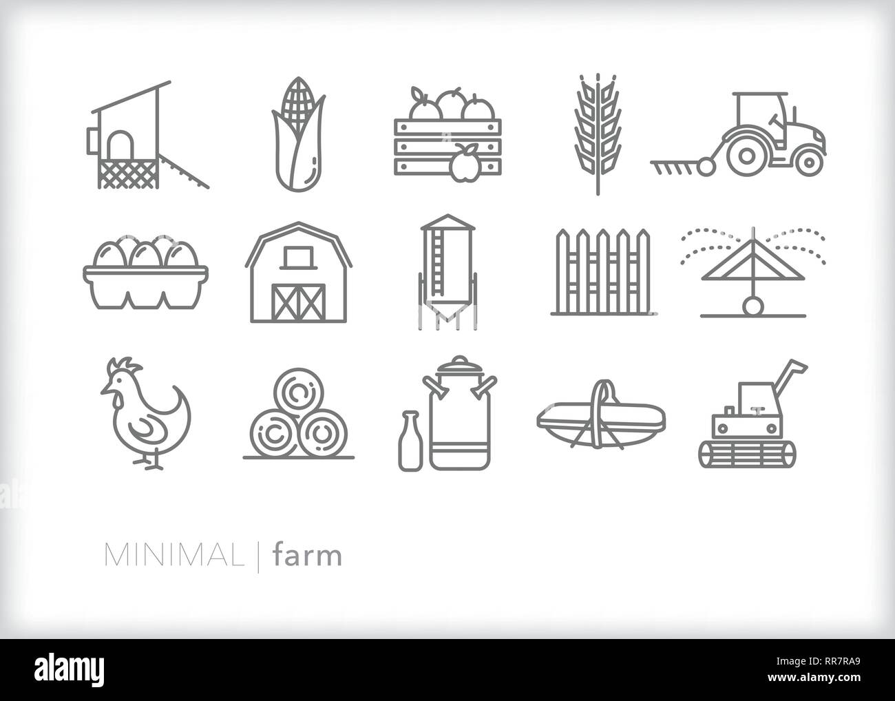 Set of 15 farm line icons for a family farm in a rural area growing livestock, agriculture, grain, vegetables or fruits including barn and equipment - Stock Vector