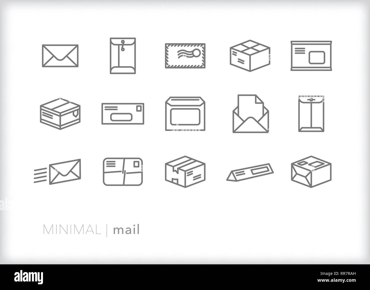 Set of 15 mail line icons of postal communication and email including envelopes, packages, boxes and postcards - Stock Vector