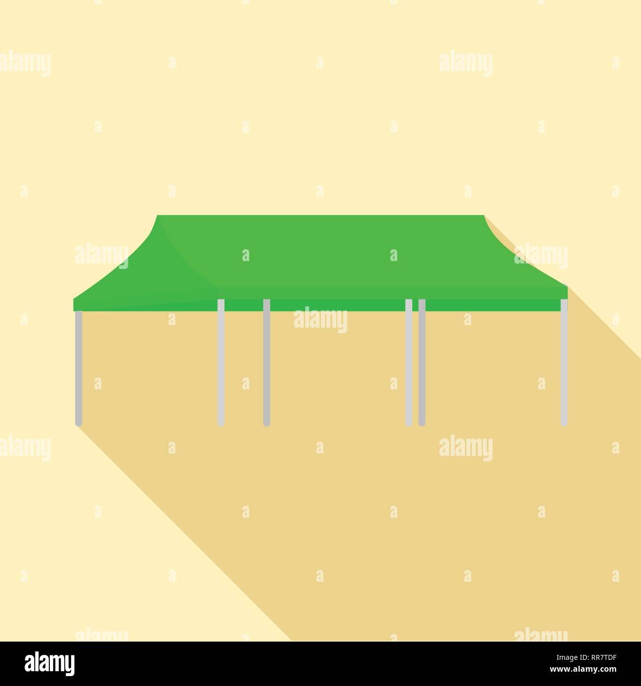 Green folding tent icon, flat style - Stock Image