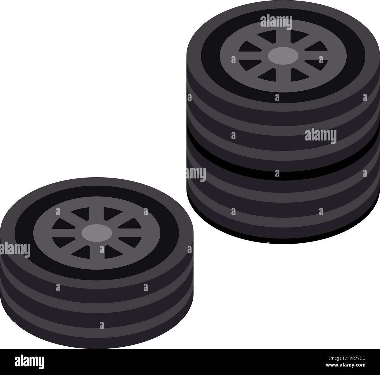Stack of car wheel icon, isometric style - Stock Vector