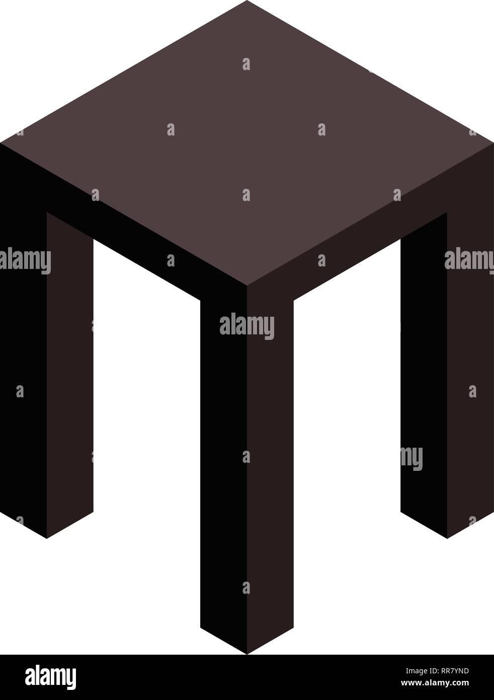 Backless stool icon, isometric style - Stock Image