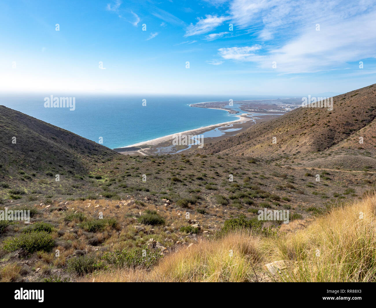 View of Port Hueneme Naval Base, from Chumash and Mugu Peak trail, Point Mugu State Park, Ventura County, California, USA - Stock Image