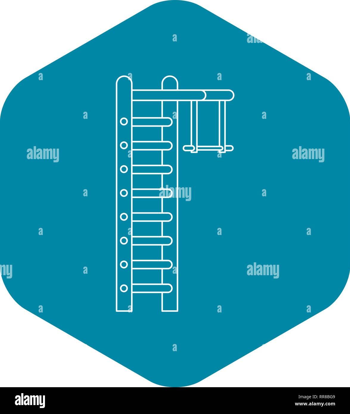 Swedish ladder icon, outline style - Stock Image