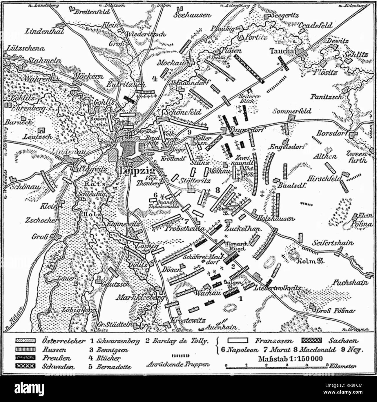 A map from Meyers Konversations-Lexikon depicting the Battle of Leipzig on 18 October 1813 - Stock Image