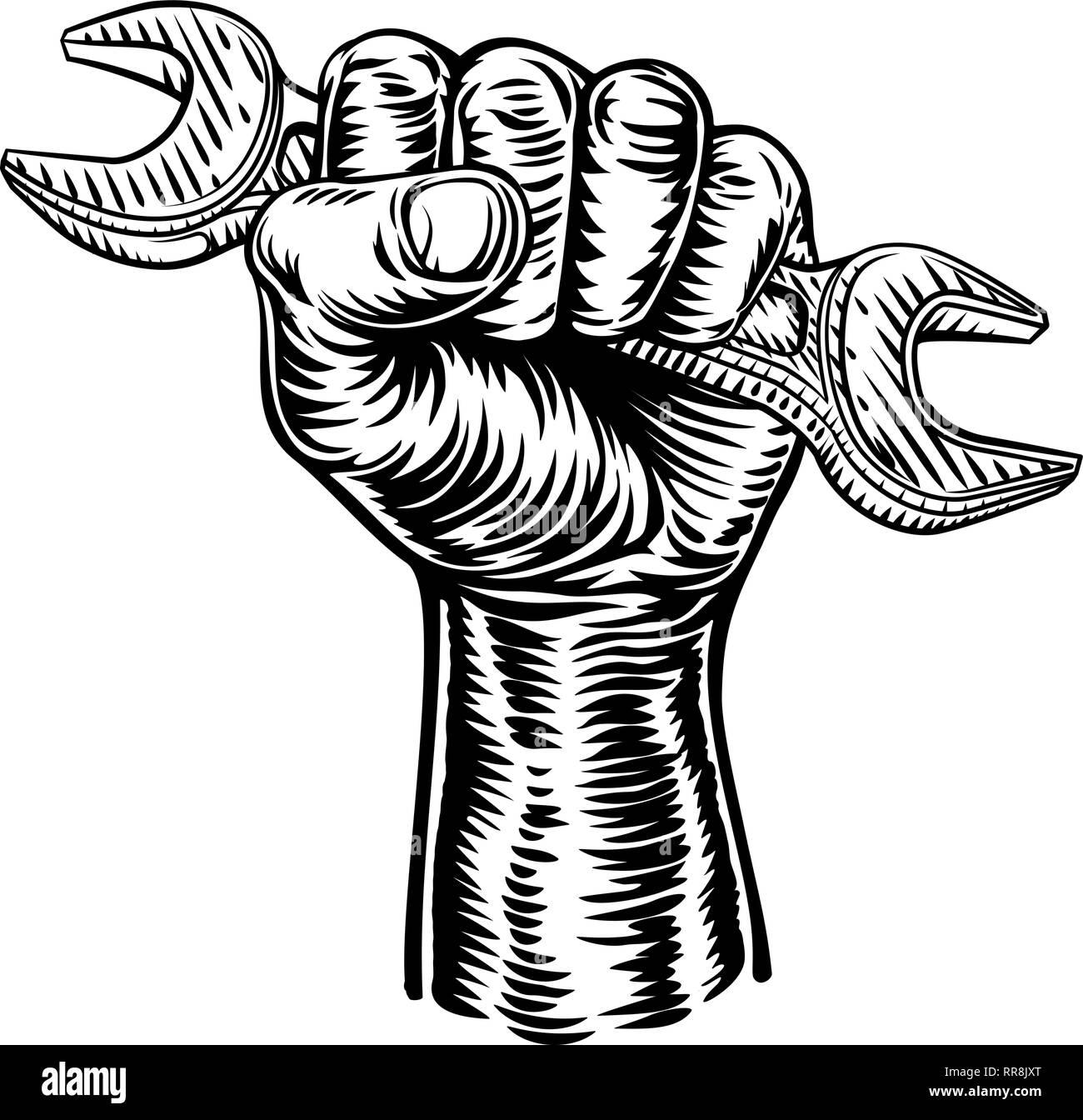Hand Holding Plumber or Mechanic Wrench Spanner Stock Vector