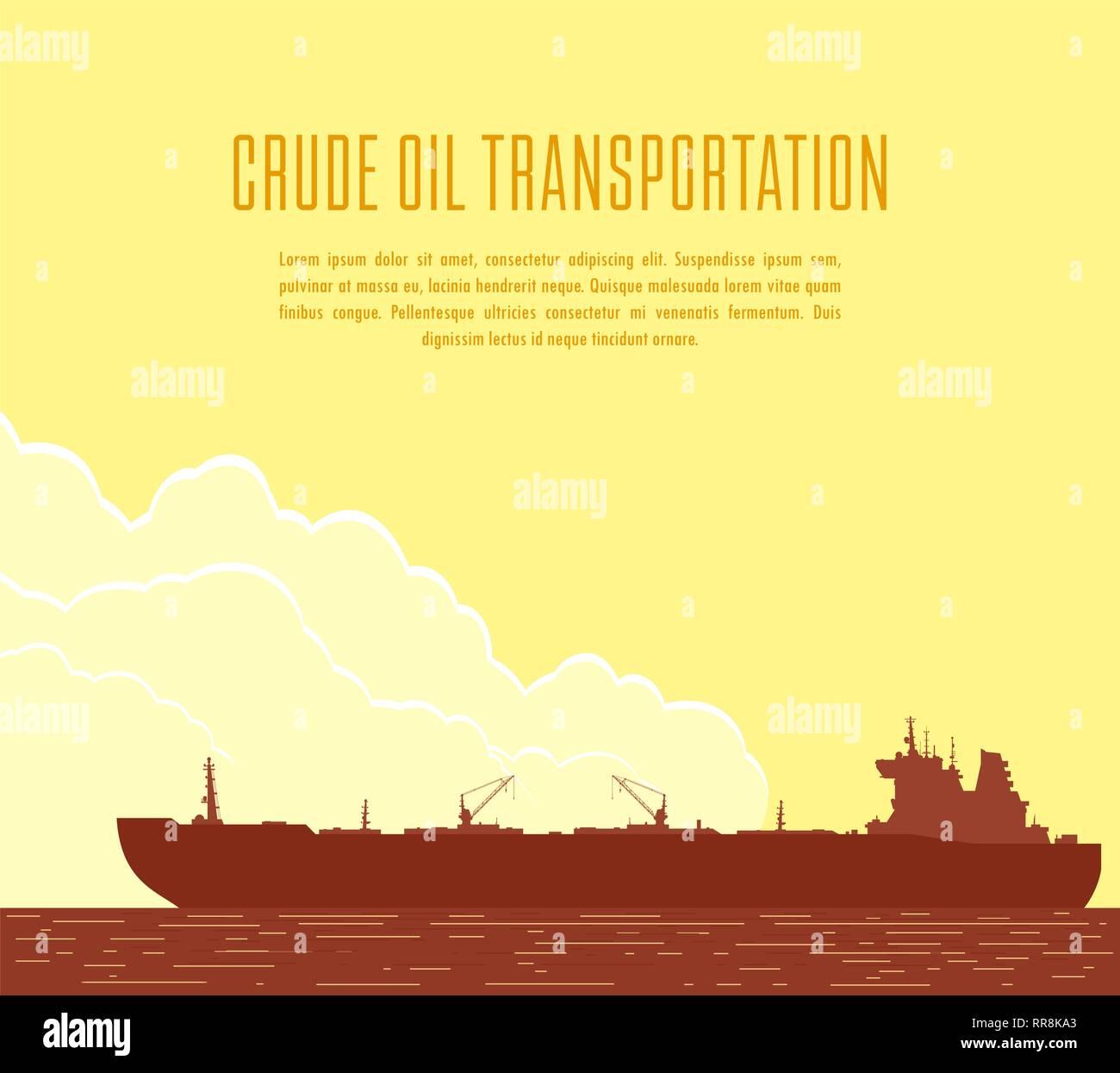 Huge Oil tanker. Vector illustration - Stock Vector