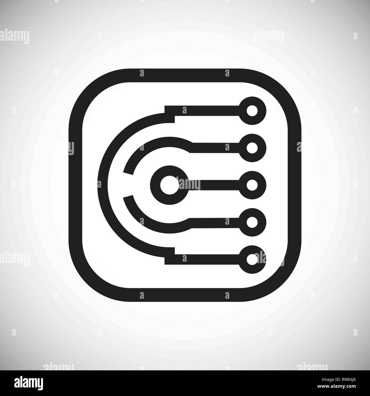 Electronic circuit icon on white background for graphic and