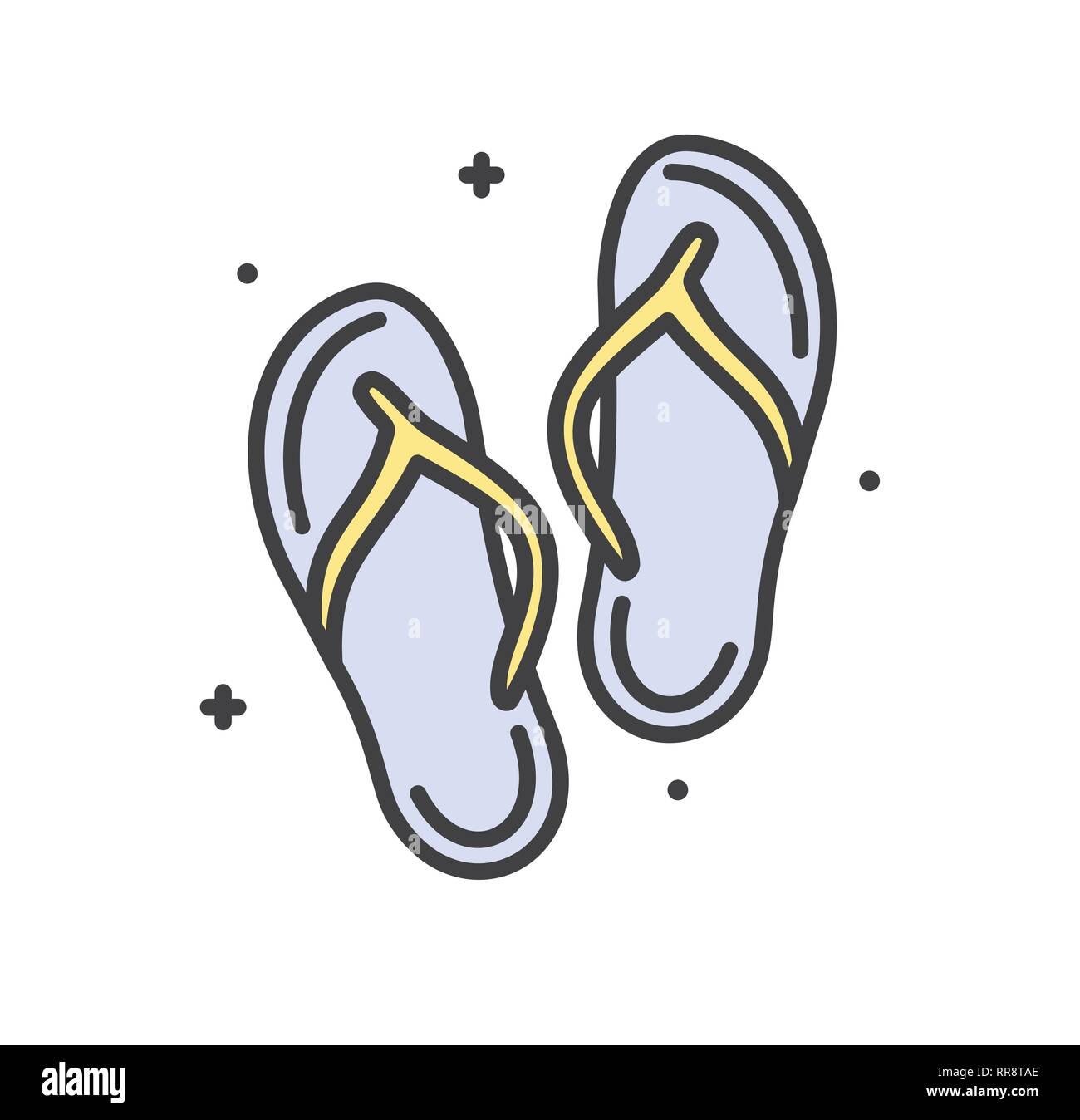 883c17549 Flip flops line icon on white background for graphic and web design ...
