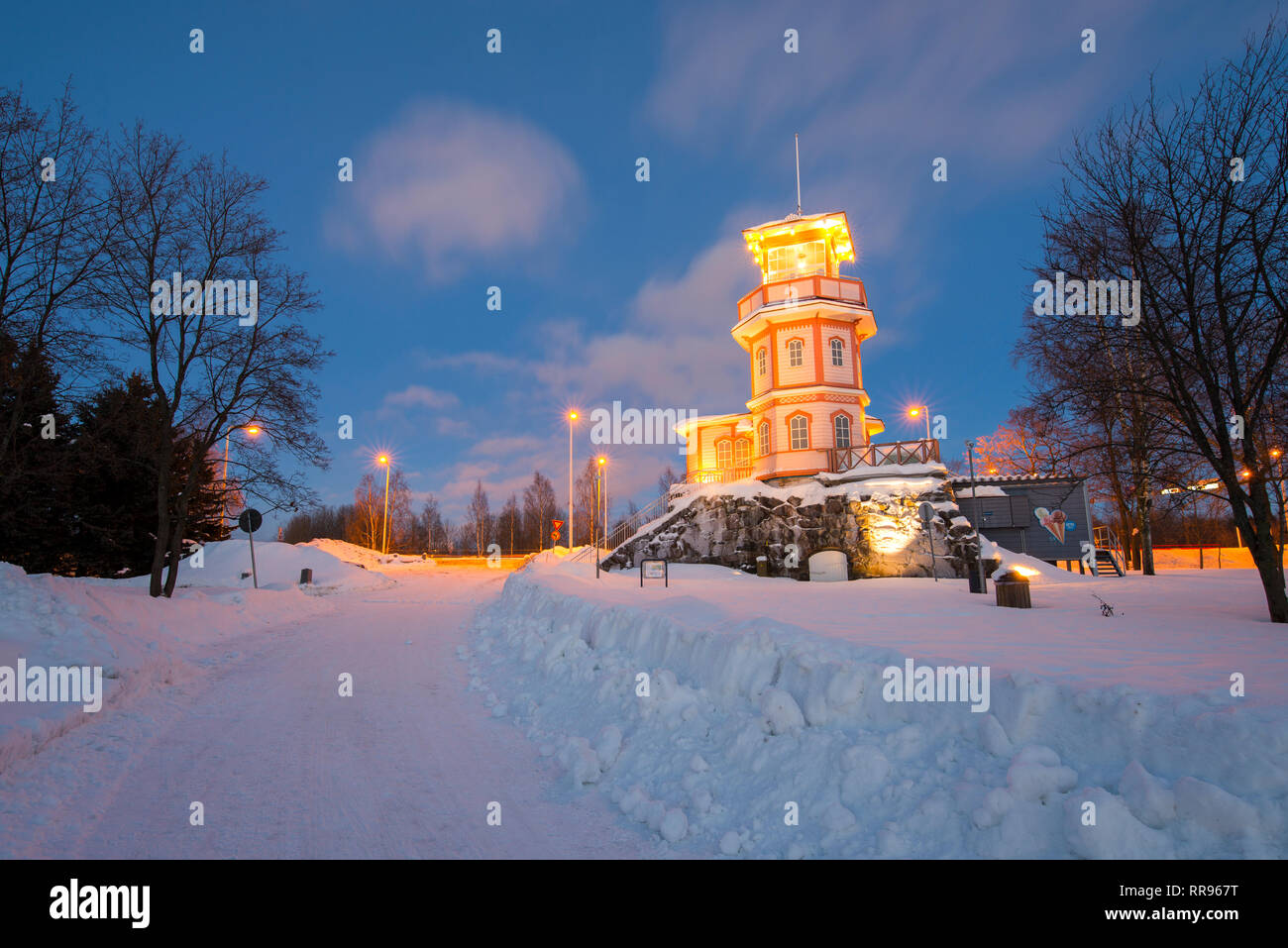 Cafee on top of the ruins of Oulu Castle, Finland - Stock Image