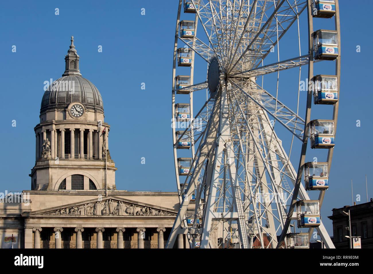 Nottingham Council House (city hall) Including Observation Wheel, Old Market Square, Nottingham, Nottinghamshire, England, UK, England UK Stock Photo