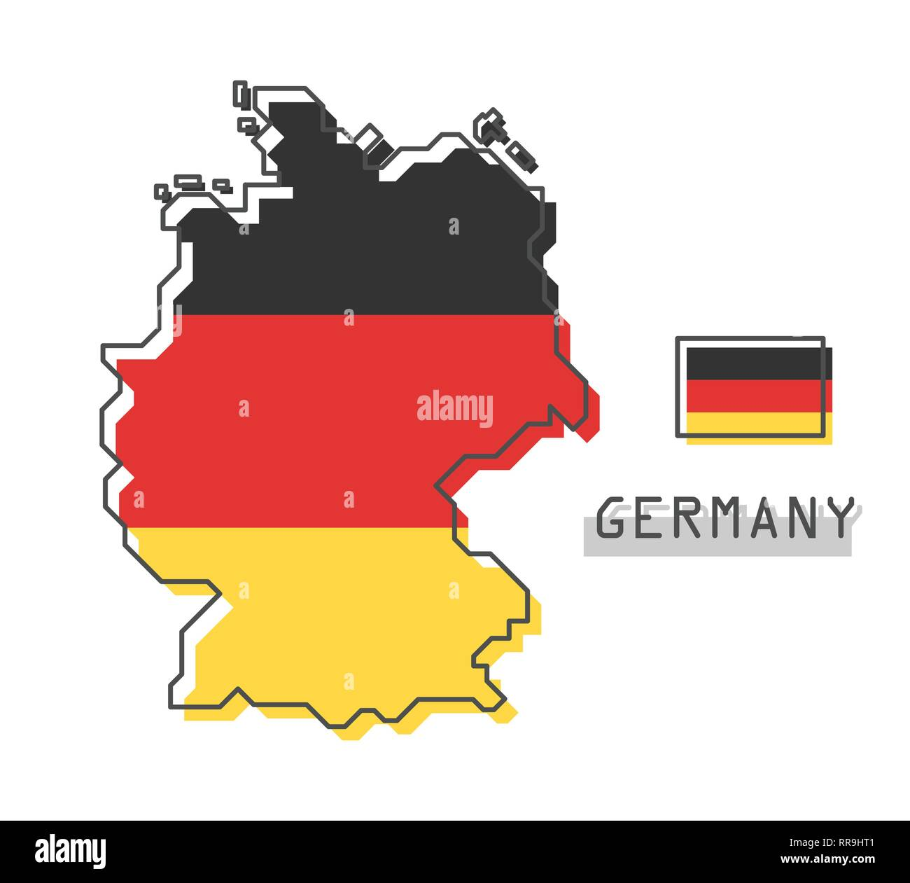 Cartoon Map Of Germany.Germany Map And Flag Modern Simple Line Cartoon Design Vector