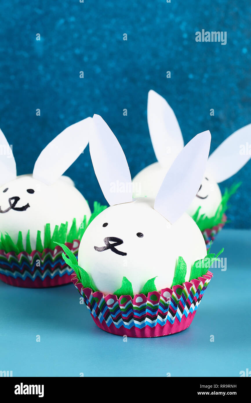Diy Rabbit From Easter Eggs On Blue Background Gift Ideas Decor