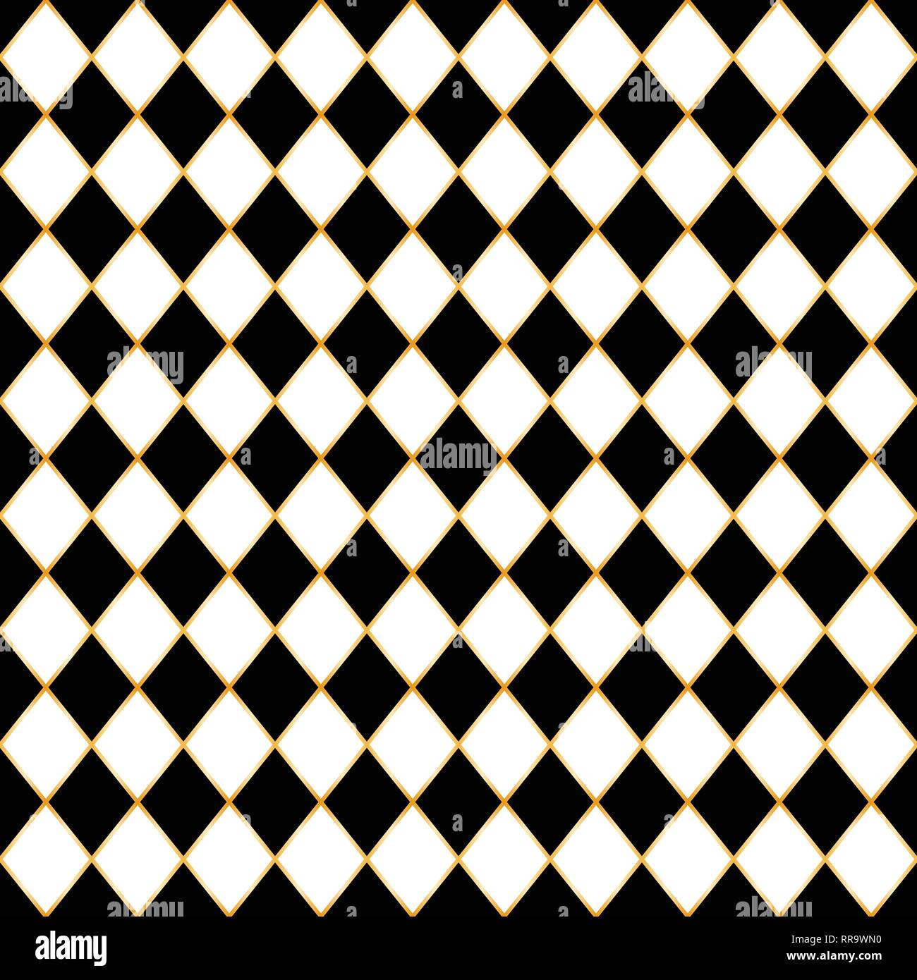 Chess board seamless pattern with gold frame. - Stock Image