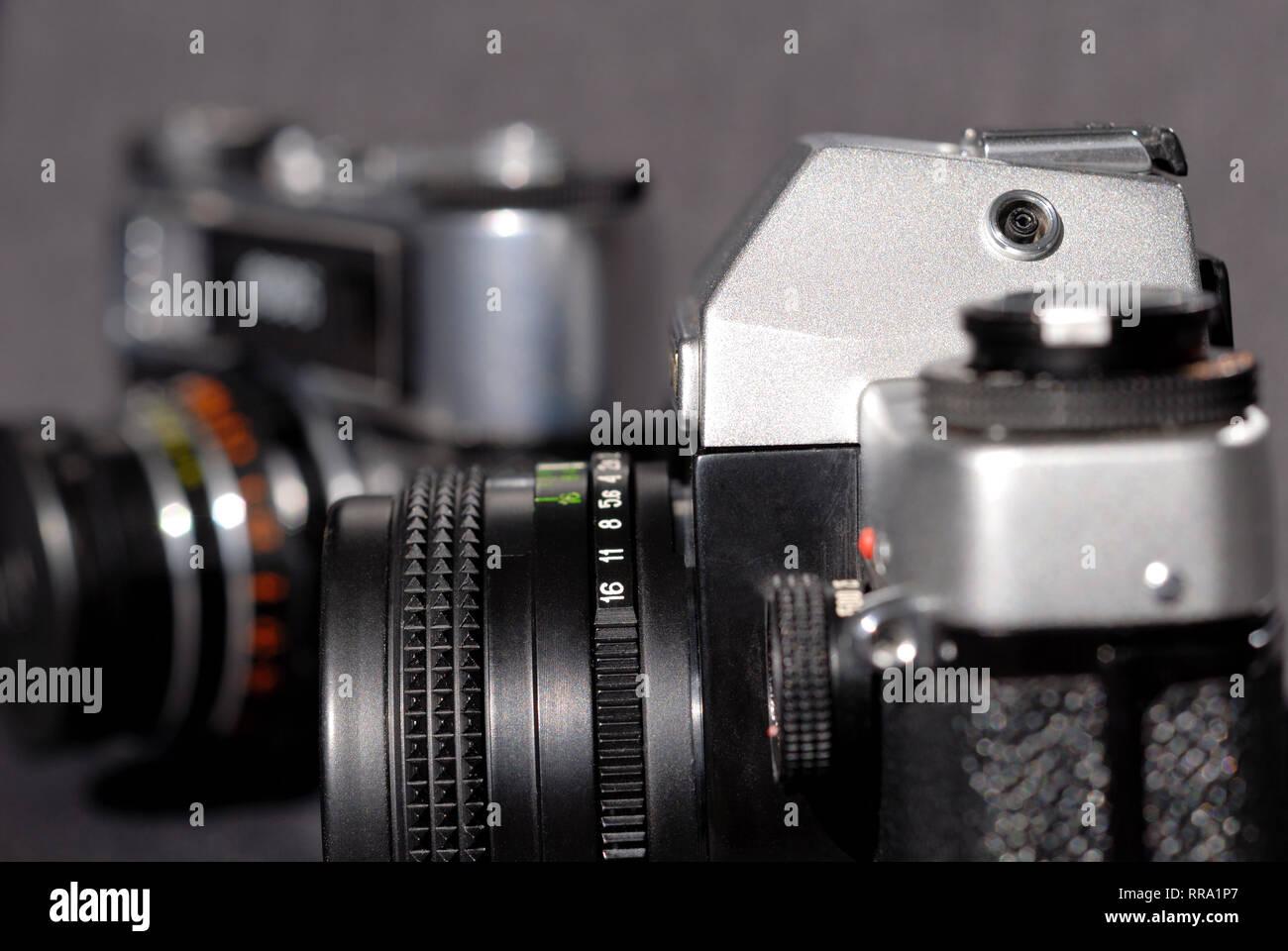 Vintage film camera. Shallow depth of field - Stock Image