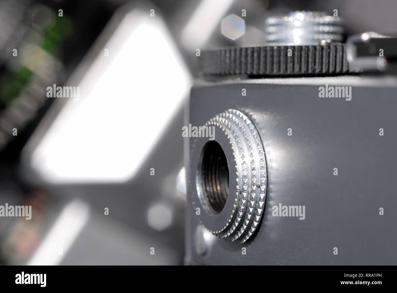 Retro film camera viewer. Shallow depth of field - Stock Image