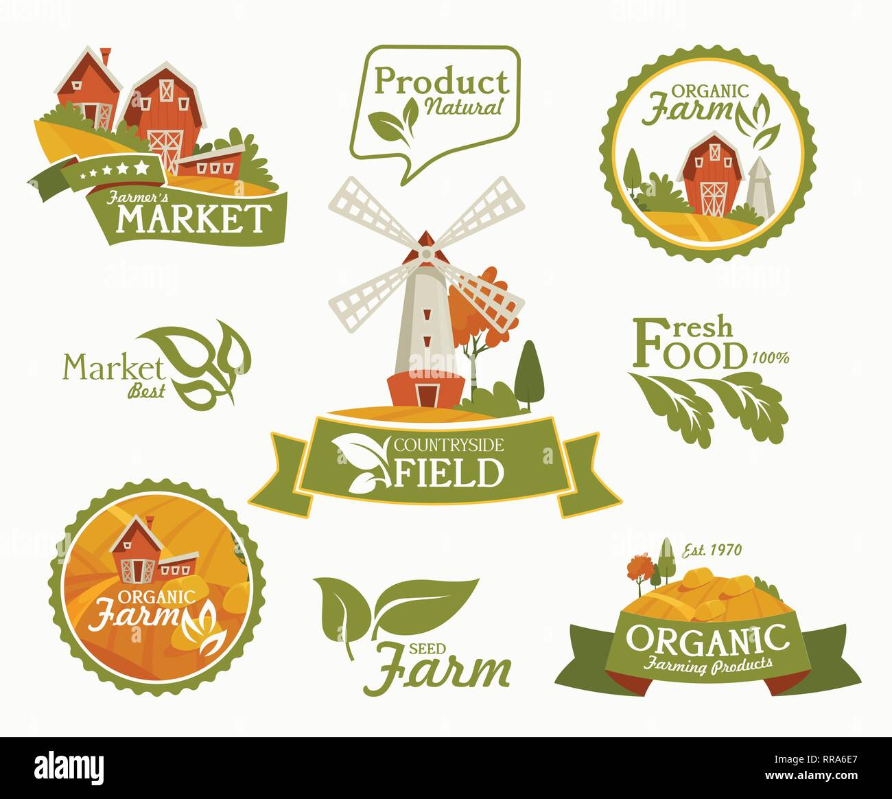 Farming landscape concept. Vector illustration with barn, houses and country yard. American farm in the summer. Poster of organic fresh food. - Stock Image
