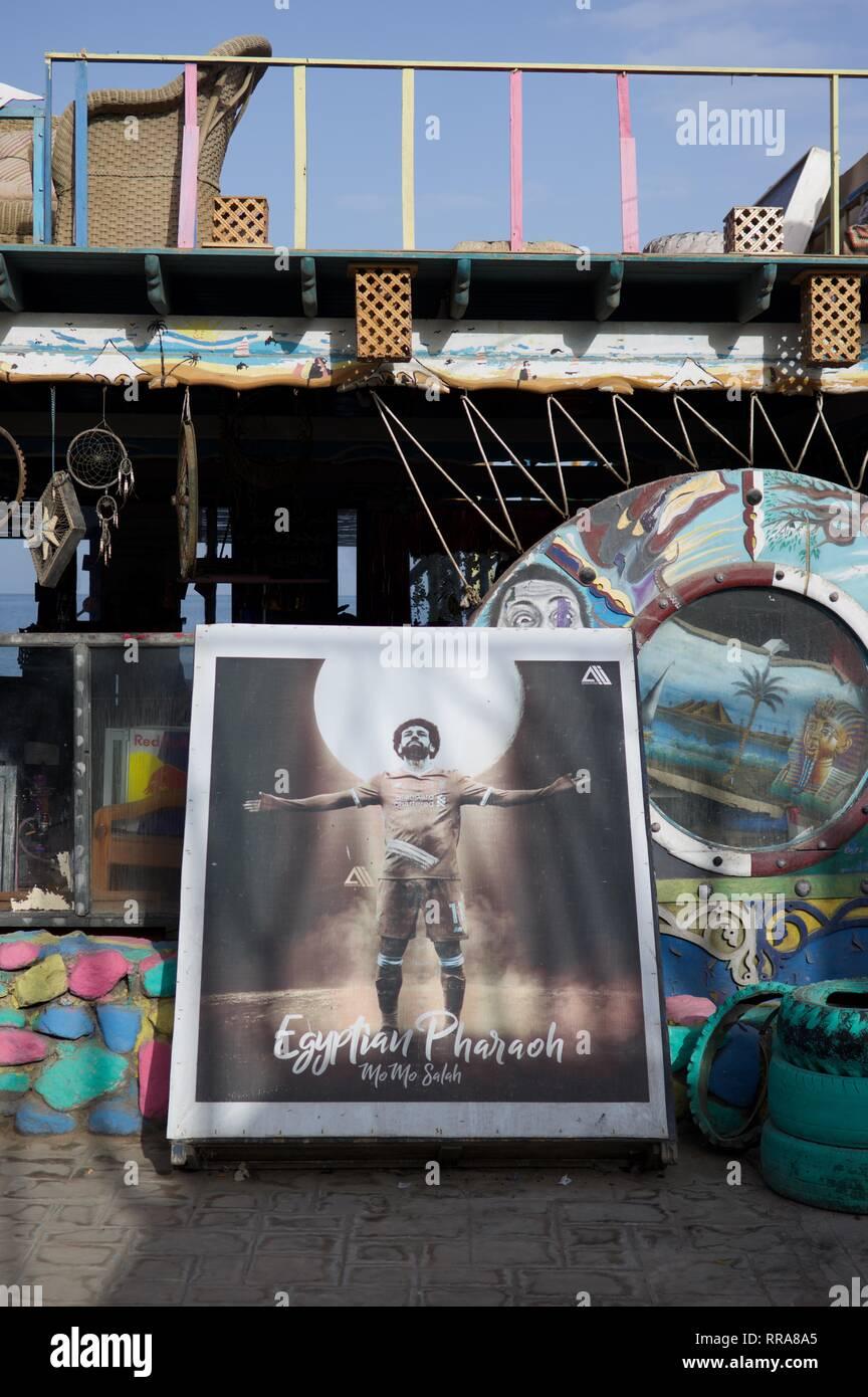 Big photo of Mo Salah, Egyptian hero in Dahab - Stock Image